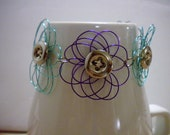 Wire and Button Bracelet Teal and Blue