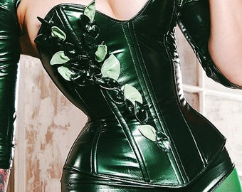 Metallic Green PVC Poison IVY overbust corset and high waisted underwear (steel boned) Artifice M/L (new)