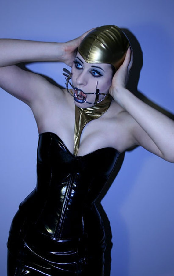 """HALF PRICE Black PVC overbust corset by Artifice Clothing with steel boning xs/small 21""""(production sample ready to ship)"""