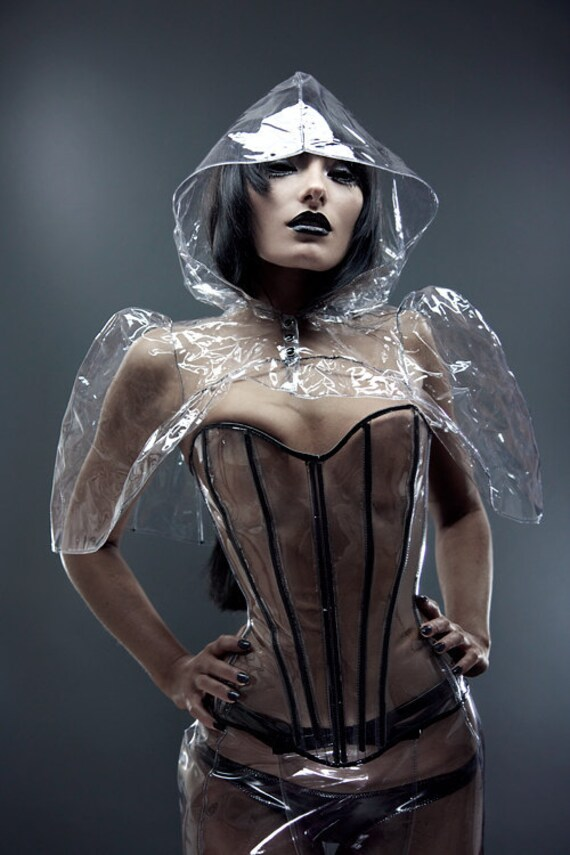 Clear PVC Victorian Capulet cape Shrug by Artifice Clothing in size small/XS (photoshoot sample)