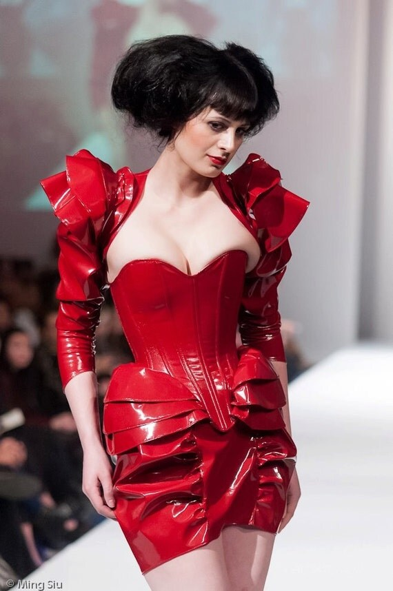 """Small 22"""" Crimson red PVC ruffled layer overbust corset with steel boning Artifice (fashion show sample ready to ship)"""