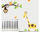 Jungle Wall Decal,Nursery Wall Decals,Giraffe Monkey Stickers-e31