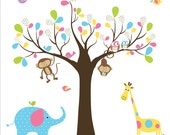 Children Wall Decal Pattern Leaf Wall Art Tree Decal - Nursery -Birds Owls
