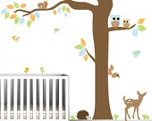 Vinyl Wall Decal Nursery Wall Vinyl-Forest with animals owl-Wall Decals