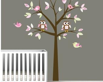 Childrens Tree Decal Vinyl Wall Decals Children Decals with Owls,Birds