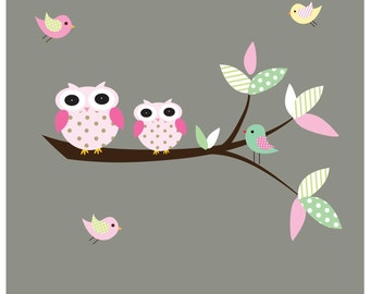 Branch with Polka dot Owls-Nursery Vinyl Wall Decal