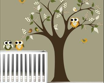 Nursery Tree Decal Wall Sticker Children Decals with Owls,Birds Nursery Art