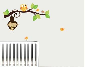 Branch with Monkey,Owl,Birds-Kids Children Wall Decal Vinyl
