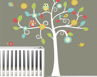 Vinyl Wall Decals Children Tree Decal with Owls,Birds-Nursery Wall Art