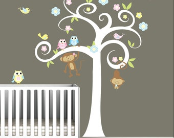 Boy Girl Nursery Tree Decal with Owls,Monkeys,Birds-Wall Vinyl Stickers
