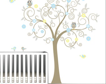 Nursery Tree Decal Wall Stickers Decals-with Flowers,Owls,Birds-Wall Hangings-Stickers