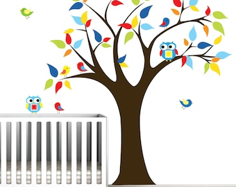 Kids Tree with owls,birds-Vinyl Wall Decal Sticker