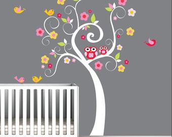 Children Wall Decals Nursery Tree Decal Wall Stickers-Swirl Tree with Owls,Birds