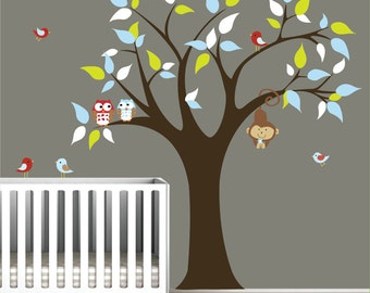 Children Vinyl Wall Decal Nursery Tree Decal with monkey ,Owls,Birds-Nursery Wall Vinyl
