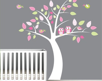 Nursery Tree Decal with Owl-Children Wall Decals ,Stickers-Vinyl Wall Art