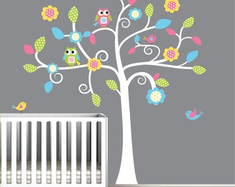 Children Vinyl Wall Decals tree with Owls Birds-Nursery Decals