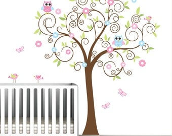 Children Vinyl Wall Decals-Tree Decal with Flowers Owls Birds