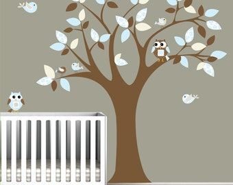 Childrens Vinyl Wall Decals Nursery Tree Decal with Owls Birds