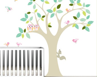 Vinyl Wall Decal with Owls Birds Pattern leaves-Tree Wall Decals