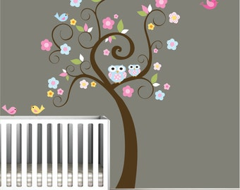 wall decal sticker decals decor baby bedroom vinyl nursery tree with owls birds
