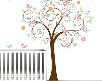 Swirl Tree Decal Vinyl Wall Decals with Birds Flowers Nursery Wall Art
