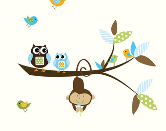 Children Vinyl Wall Decals Nursery Branch Jungle Wall Stickers with Monkey-e75