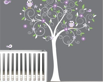Wall Decals Tree Vinyl Decal with Birds Owls-Nursery Wall Decals-e109