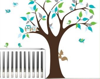 Children Vinyl Wall decals nursery tree wall stickers with owls,Squirrel-02