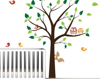 Childrens Vinyl Wall Decals Tree with Owls,Birds-Nursery Tree Wall Decals-e73