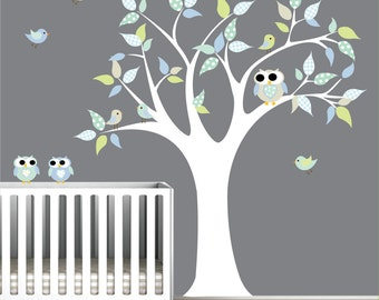 Children Vinyl Wall Decals Nursery Tree Wall Decal with Birds Owls