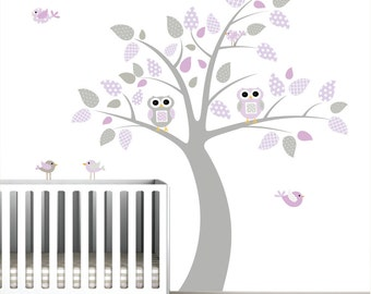 Wall Decals children vinyl decals- nursery tree with owls birds