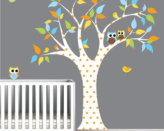 Vinyl wall decal tree decal sticker with owls birds-nursery wall decals