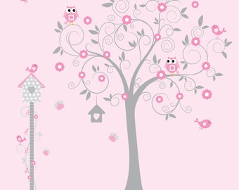 Decals-Nursery Wall Decal with Tree Decal Growth chart Birds Bird House-e110