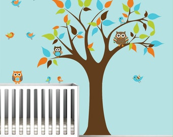Vinyl Wall Decals Stickers Tree with Owls-Nursery Vinyl Decal