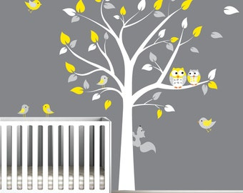 Children Wall Decals Vinyl wall decal Tree with Owls-Vinyl Tree Wall Decal-e117