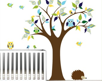 Children Wall Decals Vinyl wall decal Tree with Owls-Vinyl Tree Wall Decal