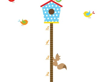 Children Wall Decals Vinyl wall decal Growth Chart with Bird House-Vinyl Tree Wall Decal