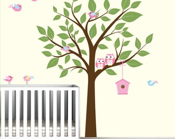 Wall Decals For Nursery-Tree with Birdhouse Birds Owls