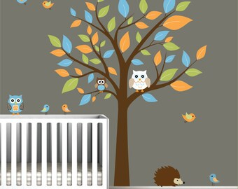 Children Nursery Wall Decal Stickers Owl and Birds Tree Nursery baby decals-e52