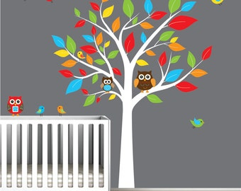 Children Nursery Wall Decal Stickers Owl and Birds Tree Nursery baby decals-e116