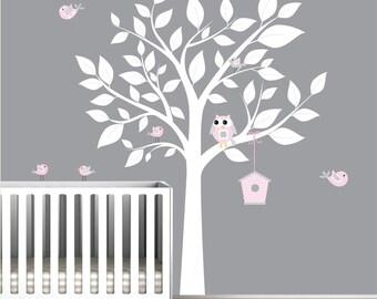 Nursery wall decal - white Tree & with Birds/bird house - Wall Decal-e24