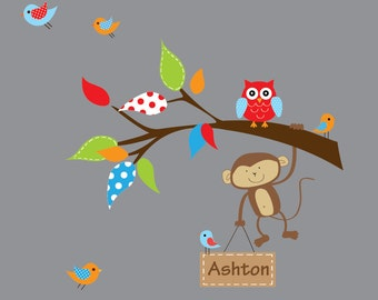 Vinyl Wall Decal Sticker Art - Branch with Monkey, Name Decal-Nursery Decals