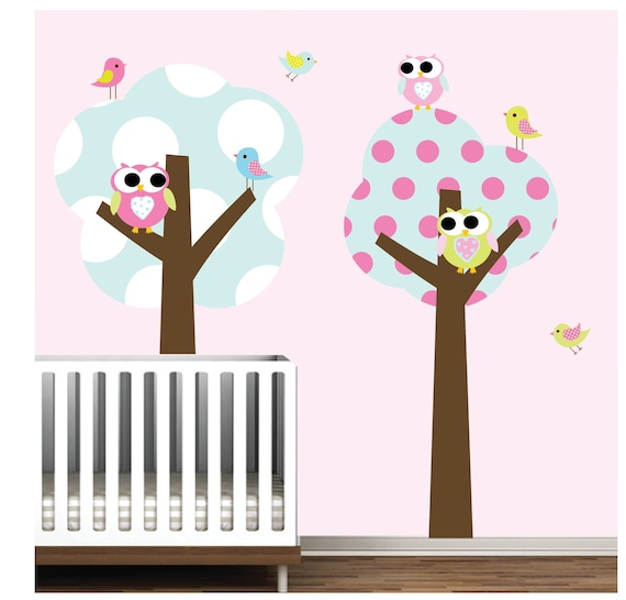 wall decals vinyl wall decal trees with owls birds-Nursery Wall Art