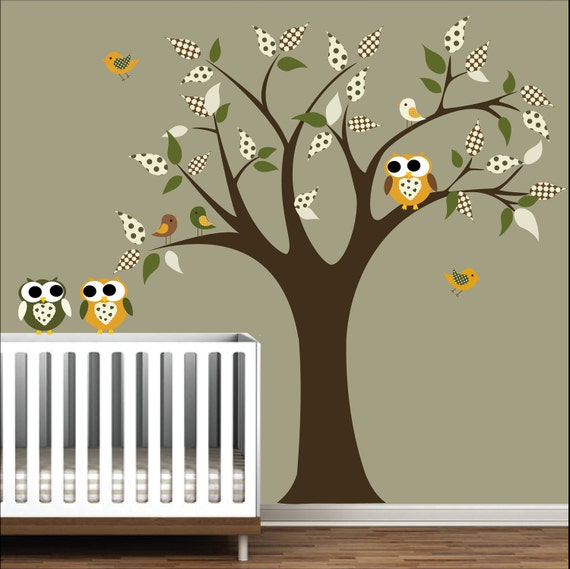 Nursery Tree Decal Wall Sticker Children Decals with Owls,Birds Nursery Art