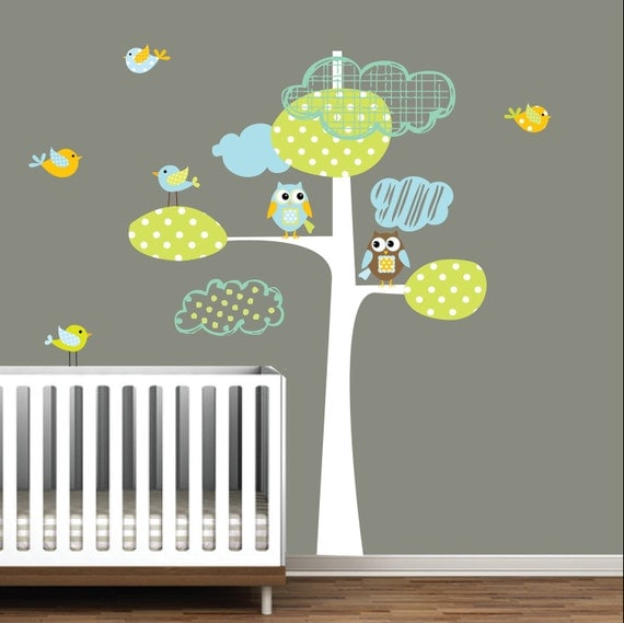 Vinyl wall decal tree with owls birds children nursery decals for Bird and owl tree wall mural set