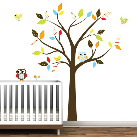 Nursery Tree Decal with Owls,Birds,Pattern Leaves Wall Art