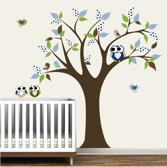Wall decal tree and birds owls nursery and kids room for Bird and owl tree wall mural set