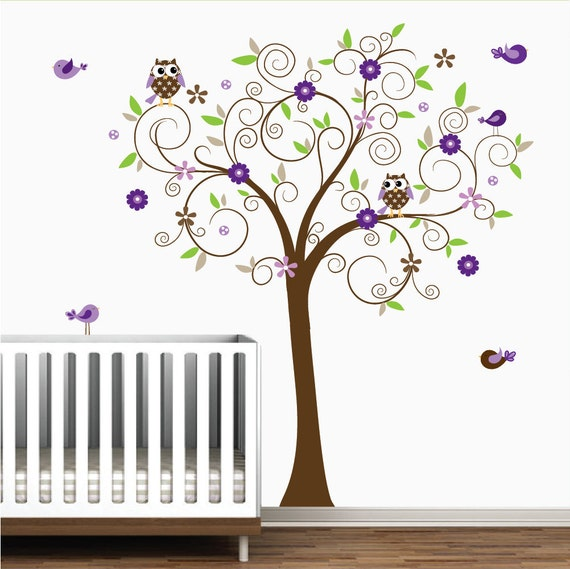 Tree Wall Decal with Owls,Birds,Flowers-Nursery Tree Wall Decals