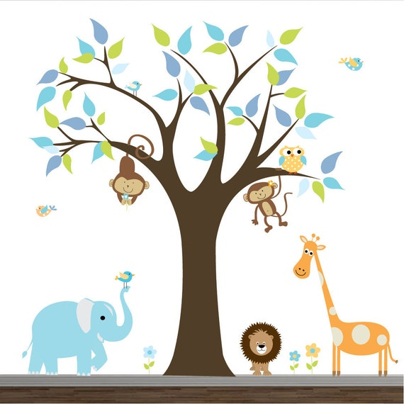 Wall Art Stickers Jungle : Items similar to wall decals jungle decal stickers