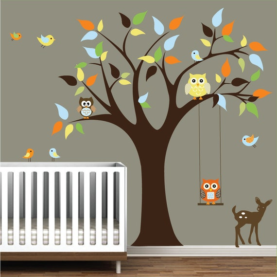 Nursery Wall Decals Tree Stickers With Animals Owls Wall Decal